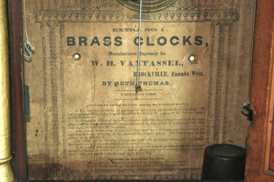 1830s W.H. Vantassel Seth Thomas clock (label)