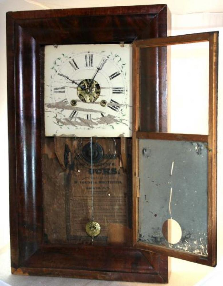 B. Young & Brothers, Amherst, Nova Scotia, 1850s Ogee-style mantel clock (door open)