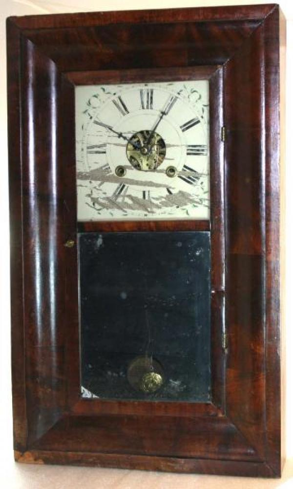 B. Young & Brothers, Amherst, Nova Scotia, 1850s thirty-hour, weight-driven, Ogee-style mantel clock