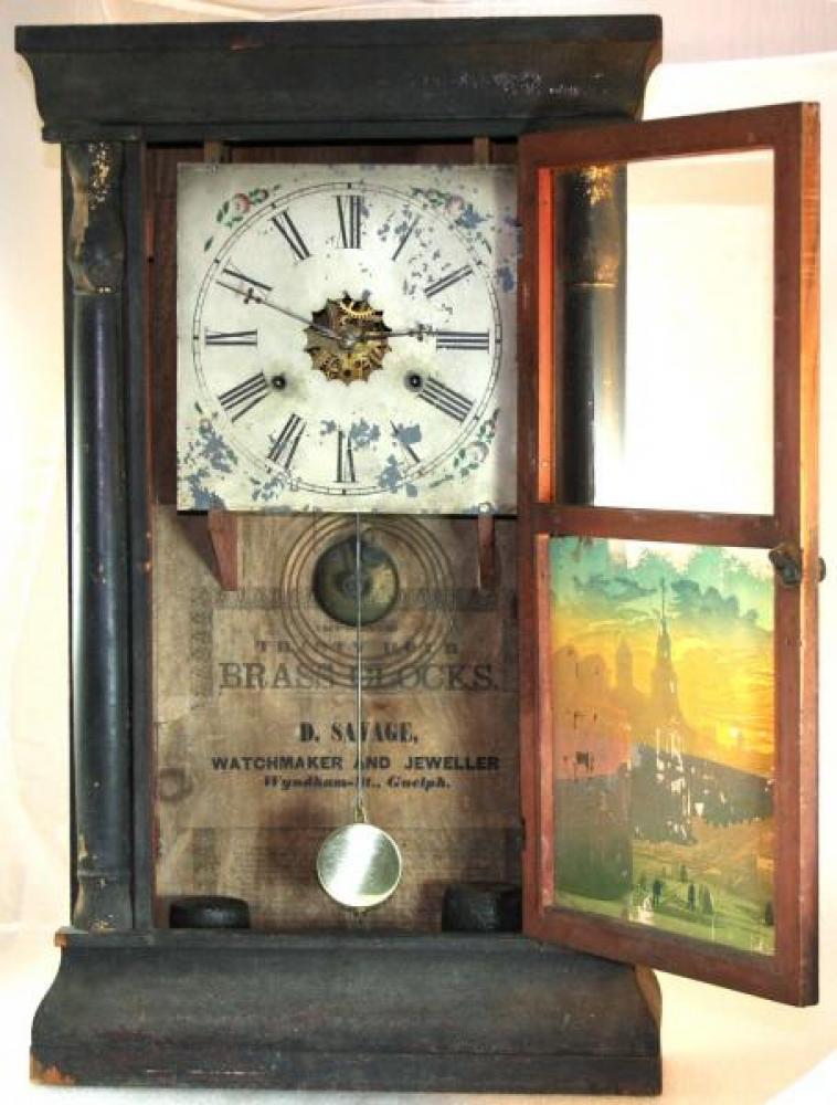 D. Savage, Guelph, 1850s mantel clock (door open)