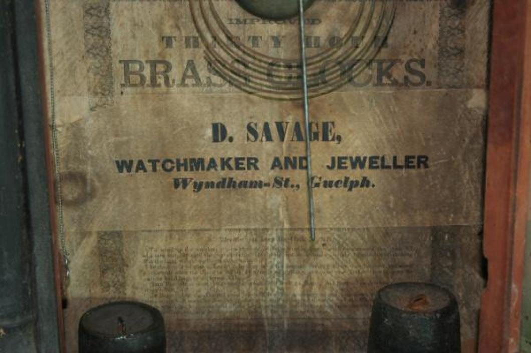D. Savage, Guelph, 1850s mantel clock LABEL
