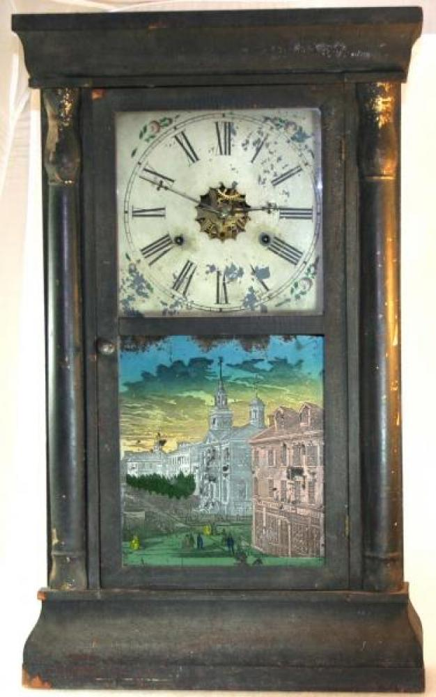 D. Savage, Guelph, 1850s thirty-hour, weight-driven mantel clock