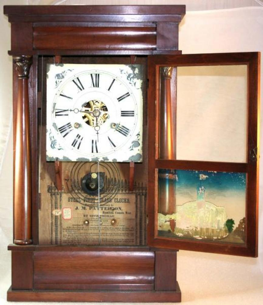 J.M. Patterson, Hamilton, Canada West 1850s mantel clock (door open)