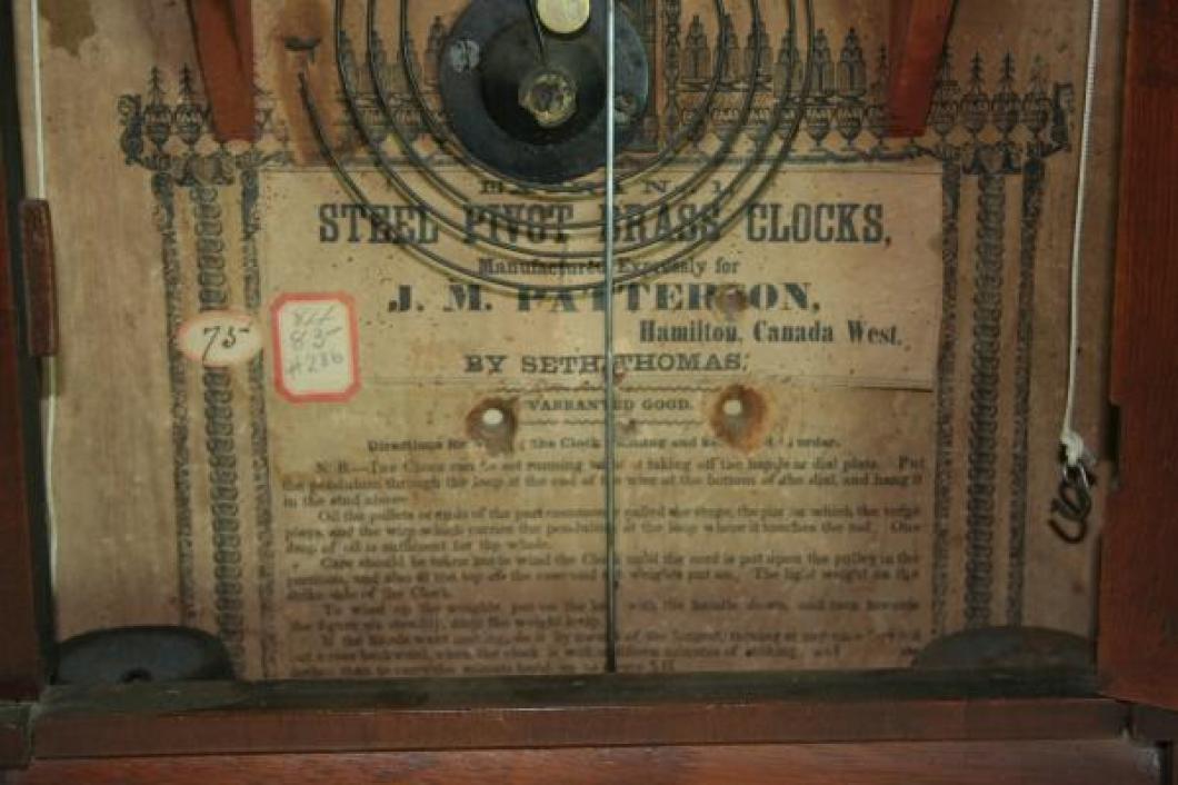 J.M. Patterson, Hamilton, Canada West 1850s mantel clock LABEL