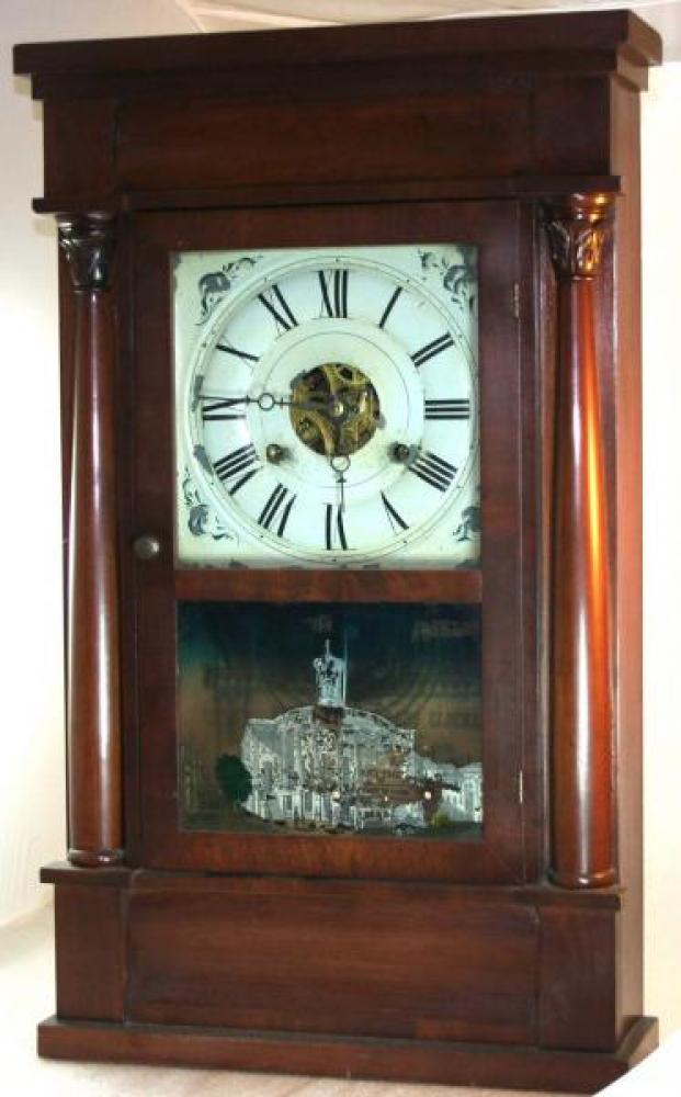 J.M. Patterson, Hamilton, Canada West 1850s thirty-hour, weight-driven  mantel clock