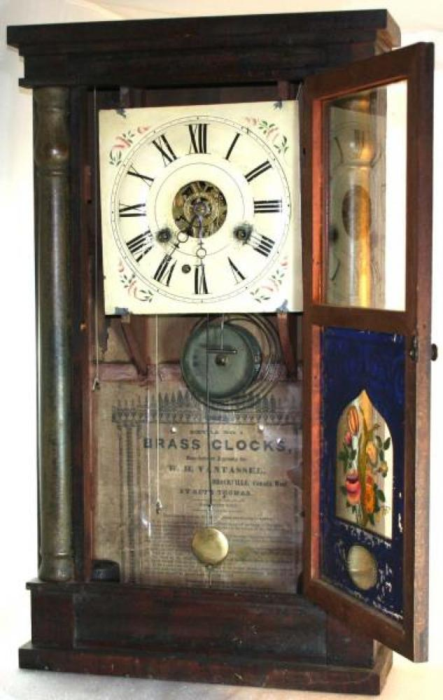 W.H. Vantassel, Brockville, Canada West, 1850s mantel clock (door open)