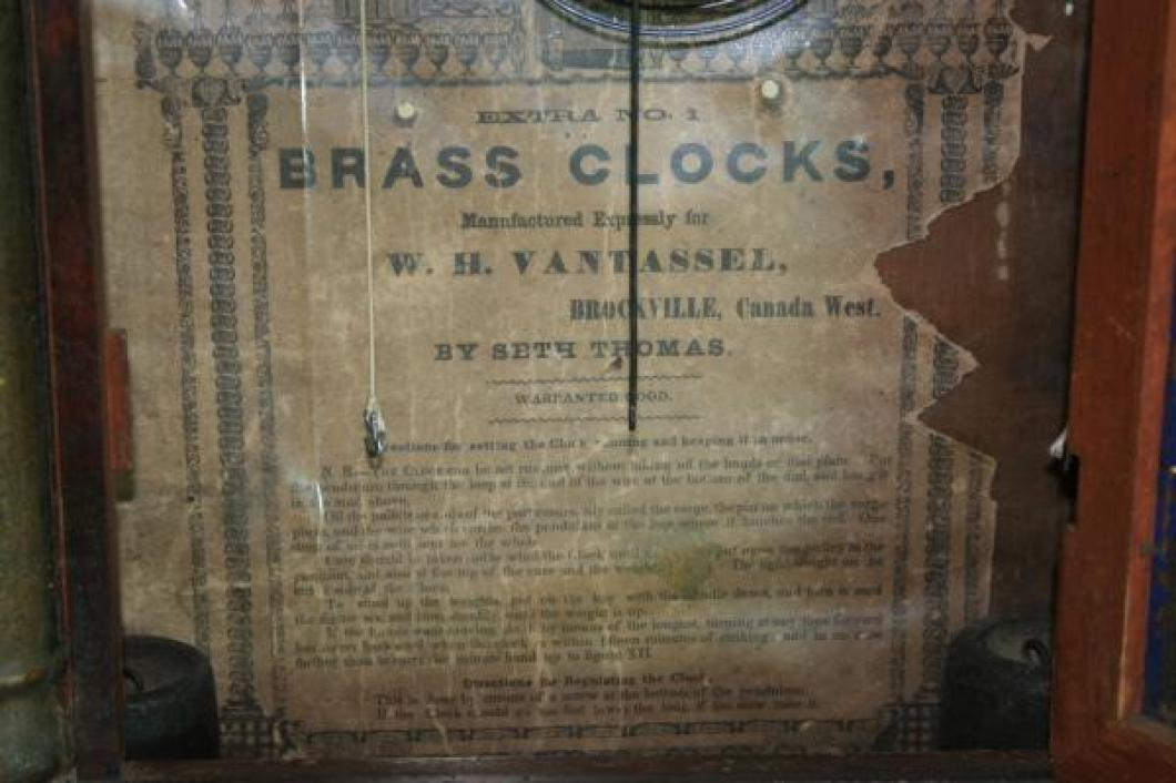 W.H. Vantassel, Brockville, Canada West, 1850s thirty-hour, weight-driven mantel clock LABEL