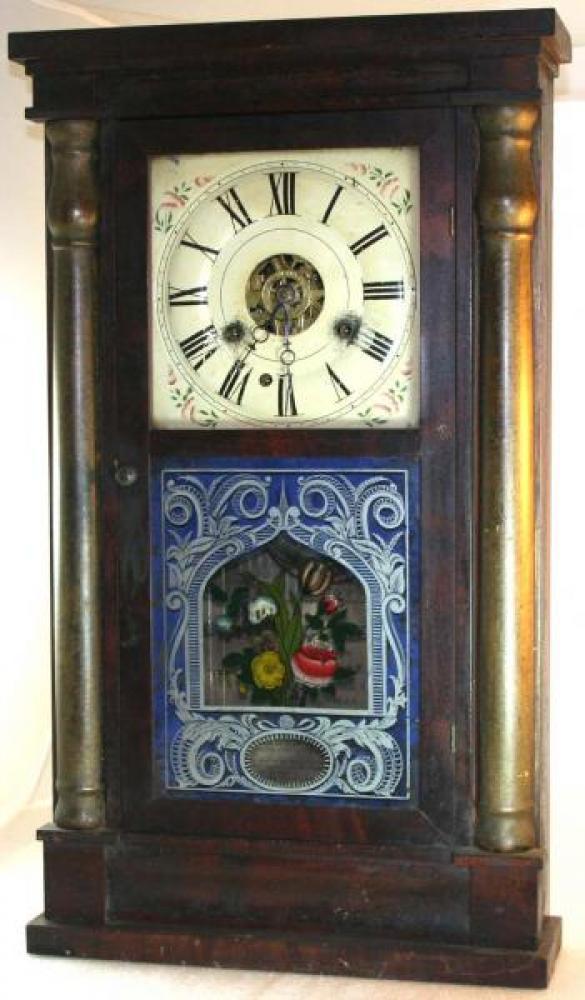 W.H. Vantassel, Brockville, Canada West, 1850s half columns 30 hour mantel clock