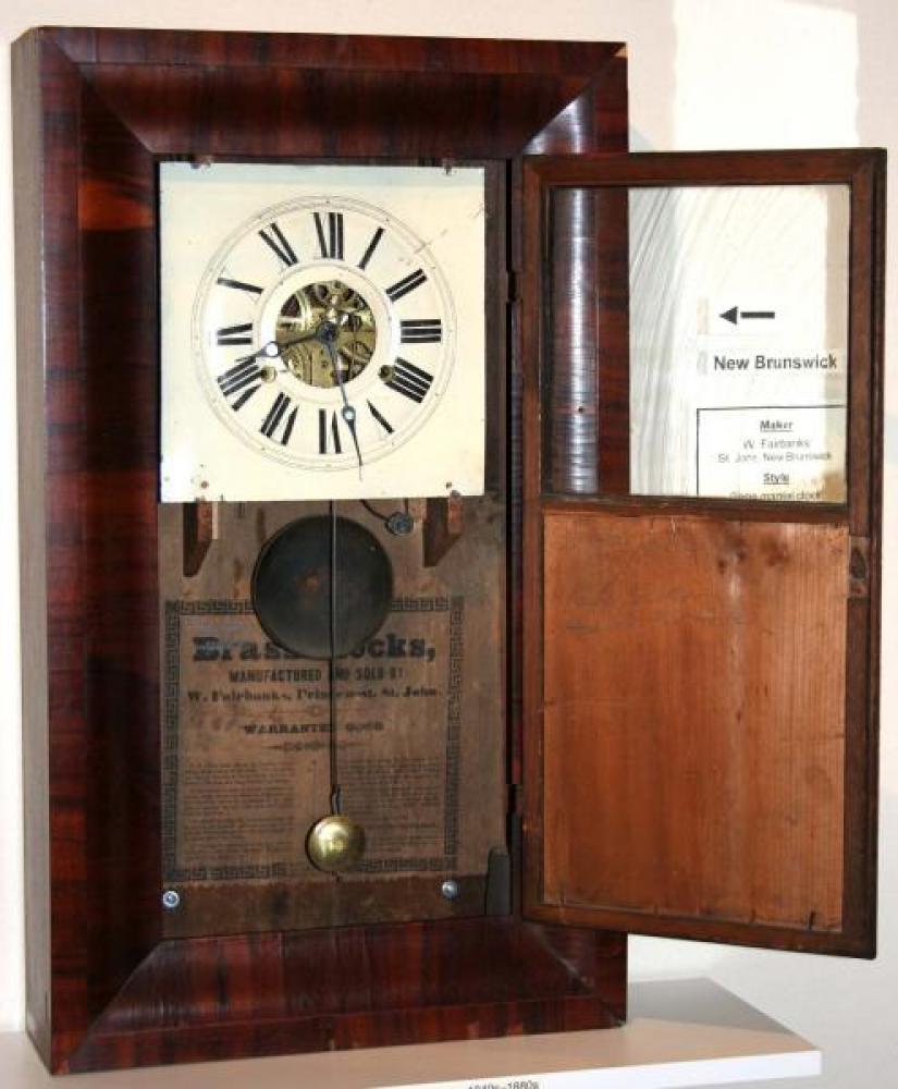 W. Fairbanks, St. John, New Brunswick, 1850s Ogee-style mantel clock (door open)