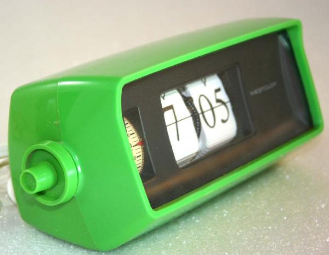 Westclox 1970s Speed-Read Lite-Alarm Clock  (Side View)