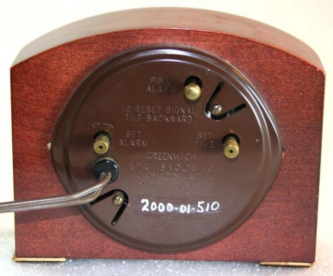 Westclox 1950s Greenwich  Alarm Clock (Backside View)