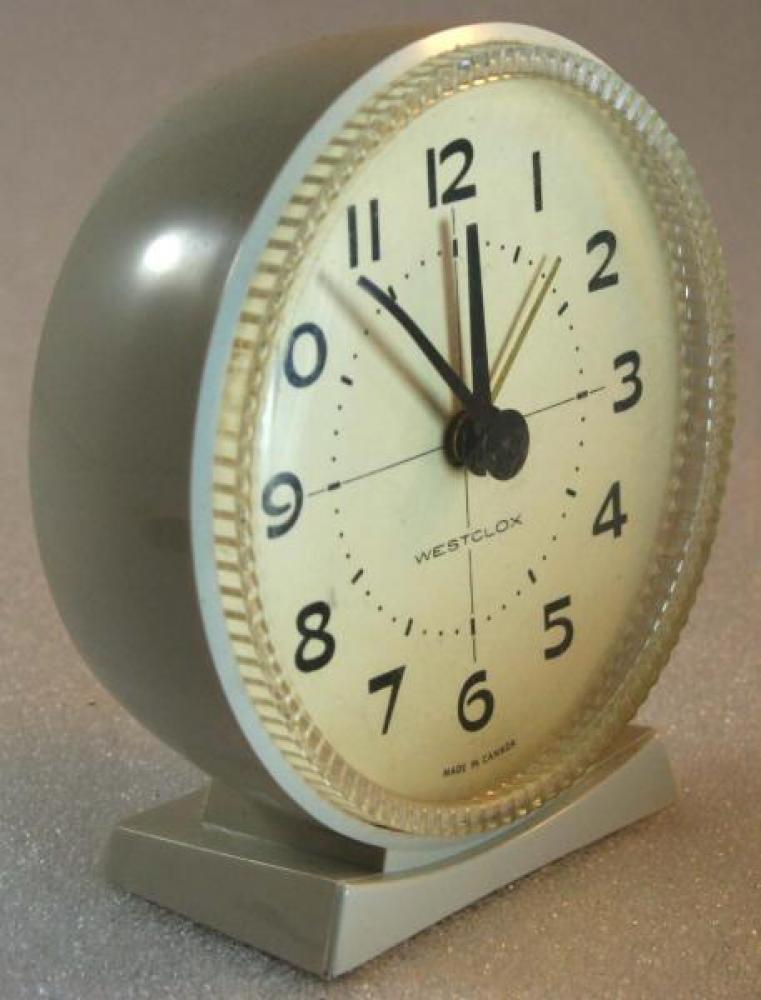 Westclox 1960s Hustler Alarm Clock (Side View)