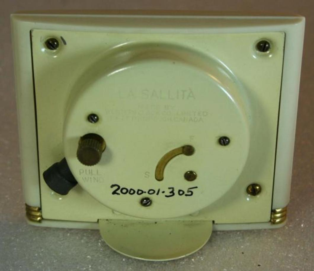 Westclox 1940s La Sallita  Alarm Clock (Backside View)