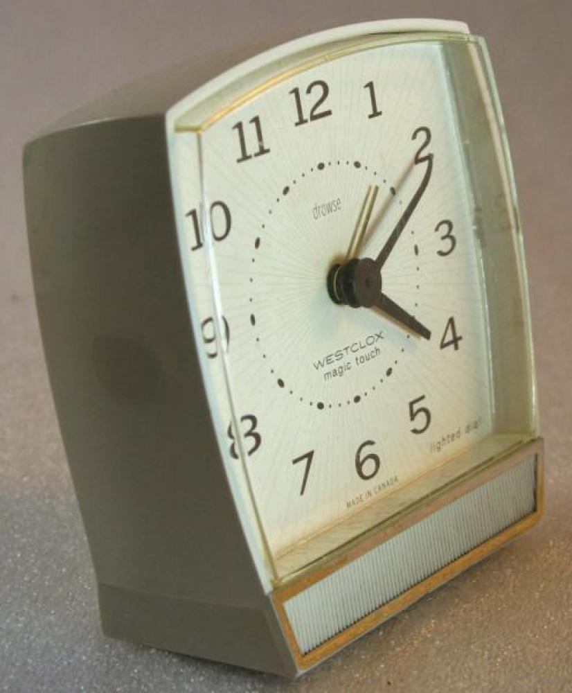 Westclox 1960s Magic Touch  Alarm Clock (Side View)