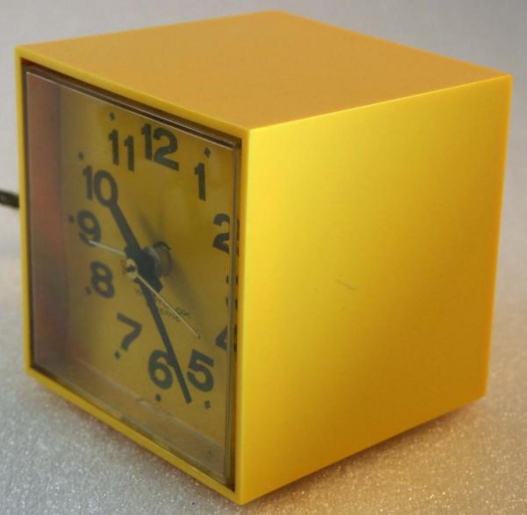 Westclox 1970s MiniCube  Alarm Clock (Side View)