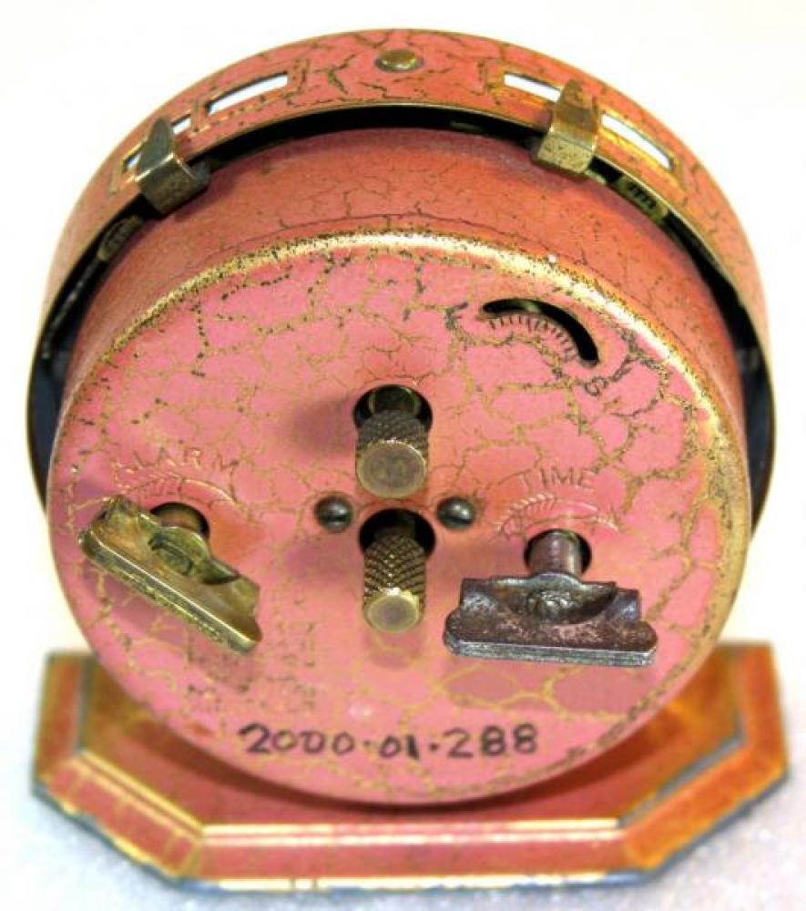 Westclox 1920s Baby Ben De Luxe (Red) Alarm Clock (Backside View)
