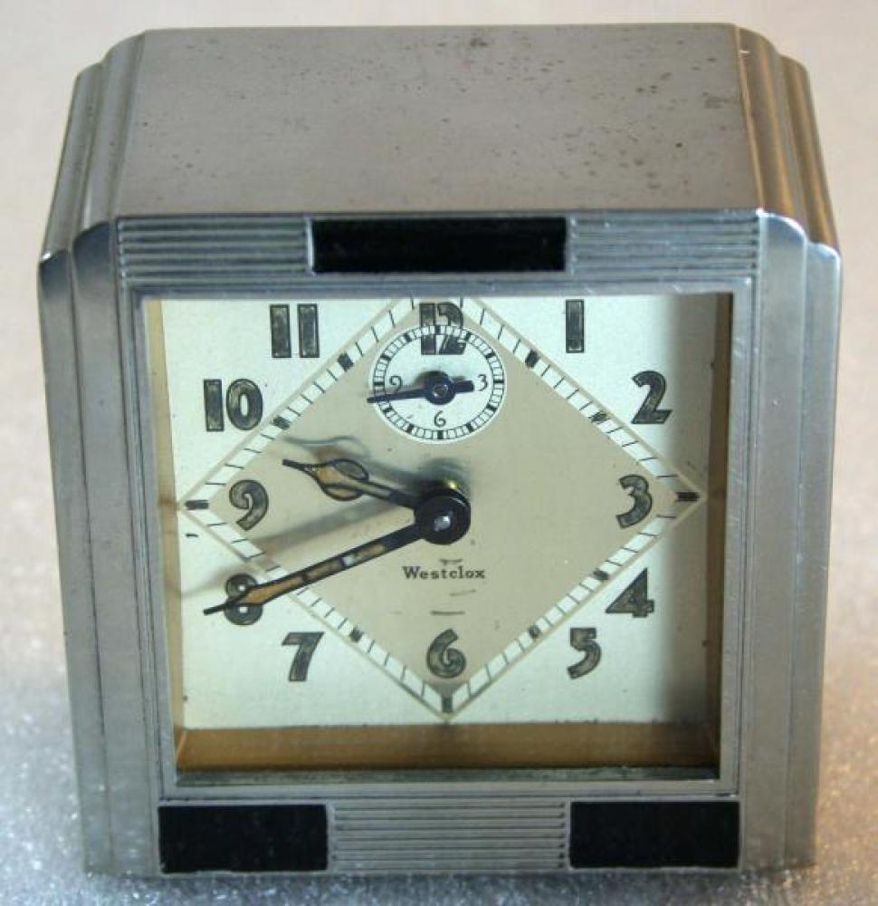 Westclox 1930s La Salle Dura metal case  Alarm Clock