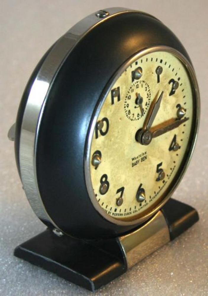 Westclox 1940s Modified  Dial  Baby Ben Brialle Alarm Clock (Side View)