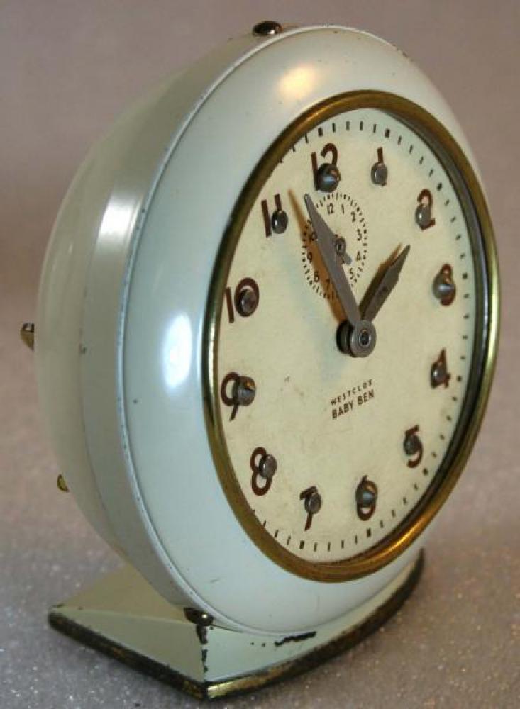 Westclox 1950s Baby Ben (Brialle)  Alarm Clock (Side View)