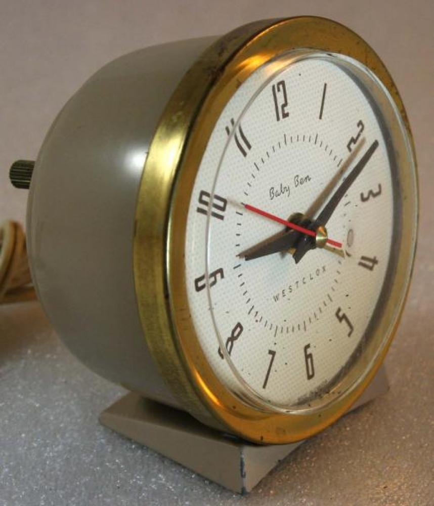 Westclox 1950s Baby Ben (Electric) Alarm Clock (Side View)
