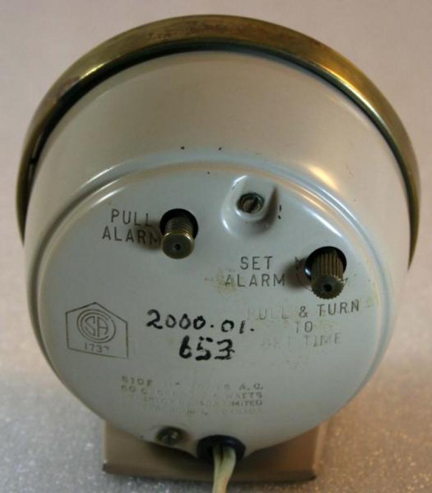 Westclox 1950s Baby Ben (Electric) Alarm Clock (Backside View)