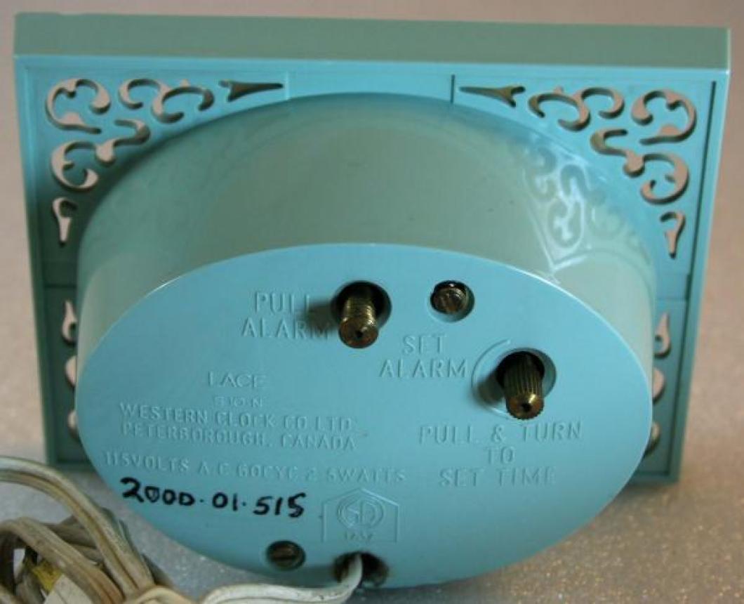 Westclox 1950s Lace Alarm Clock (Backside View)