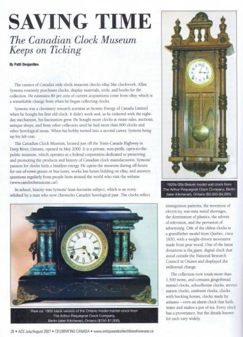 This two-page article SAVING TIME appeared in the June/July 2007 issue of Antique & Collectibles Showcase Canadian magazine.