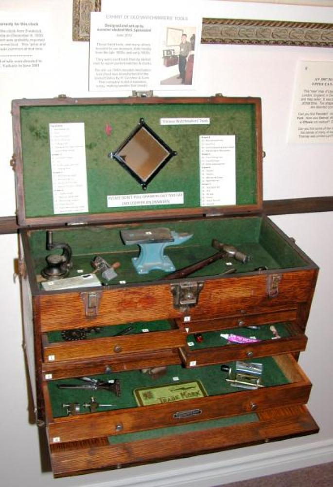 Old hand tools displayed in a ca. 1950s Gerstner & Sons wood tool chest.