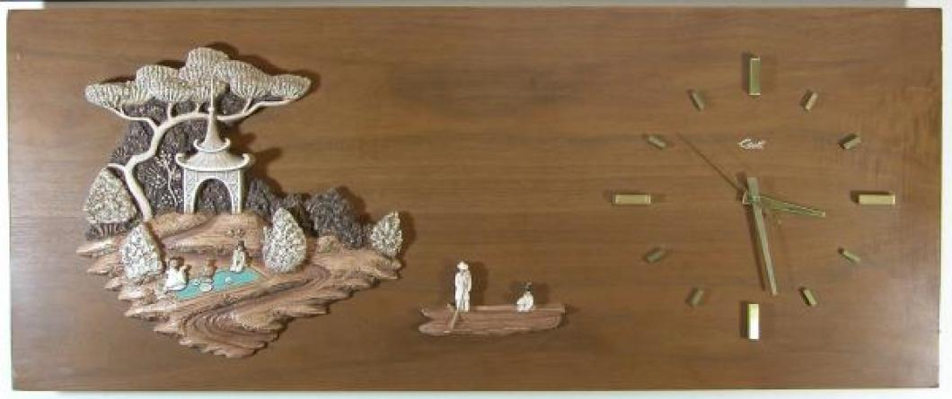 "3D chalkware Japanese island tea party and boat, wood veneer. battery wall clock, 33"" W (museum collection)"