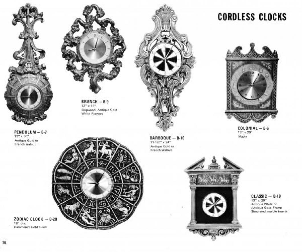 Clocks on page 16 of 1971 Girotti products catalogue