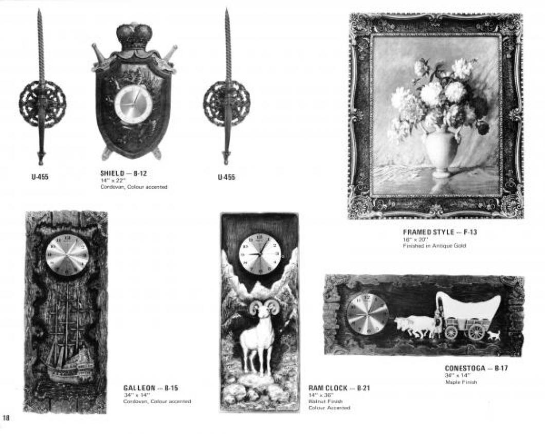 Clocks on page 18 of 1971 Girotti products catalogue