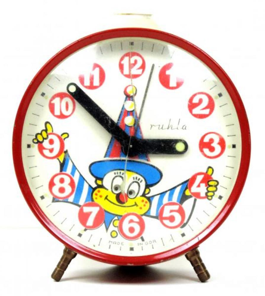 GDR (East Germany) Clown EYES MOVE alarm clock (plastic cover has vertical crack)