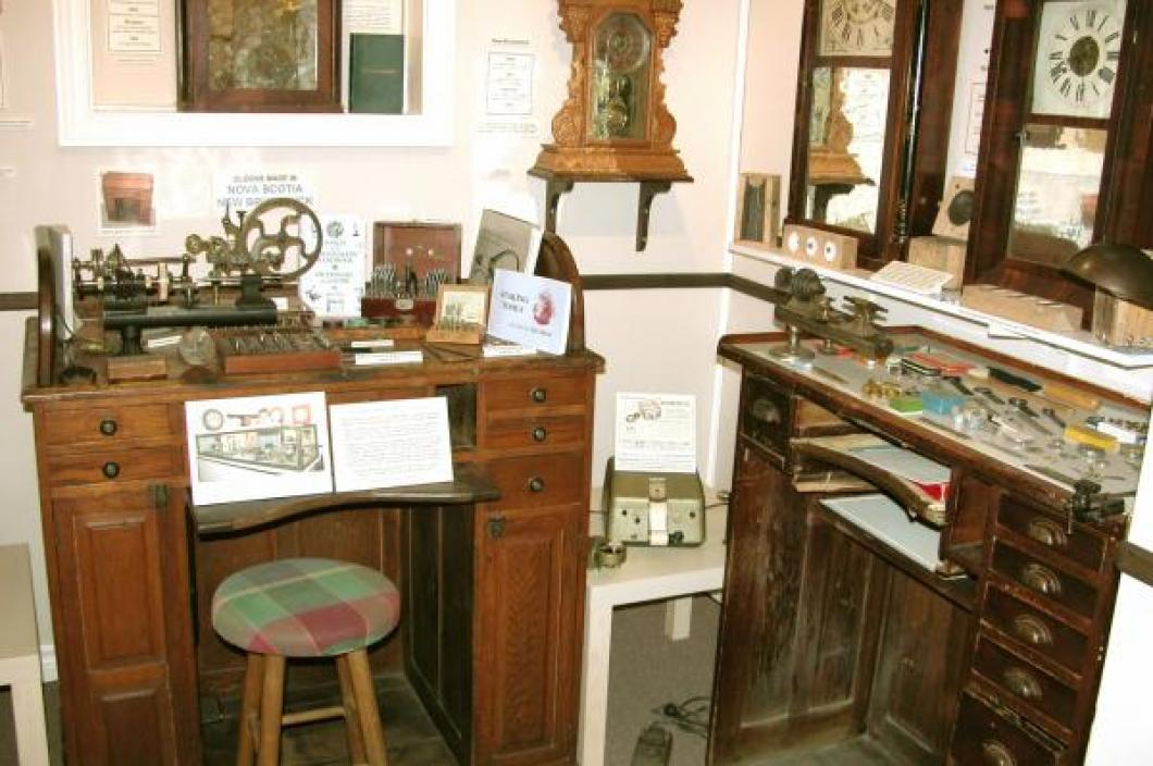 Two old watch/clock repair work benches in the Exhibit Room