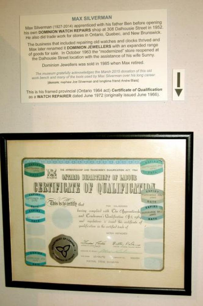 Max Silverman history & 1966 WATCH REPAIRER Certificate of Qualification