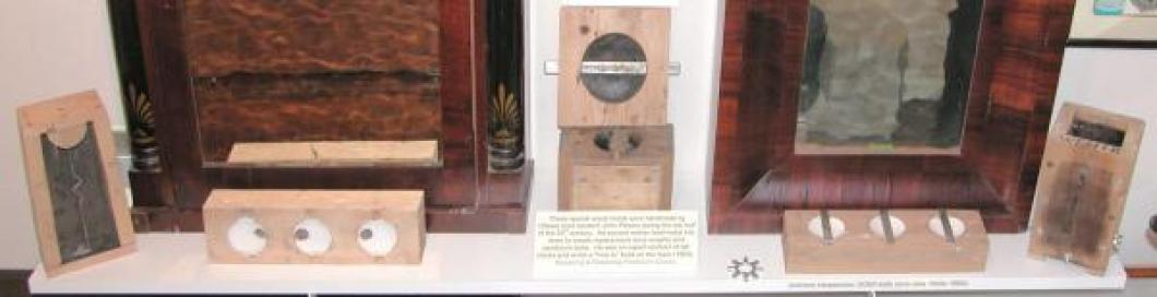 Wood molds used by John Plewes to make replacement lead weights and bobs