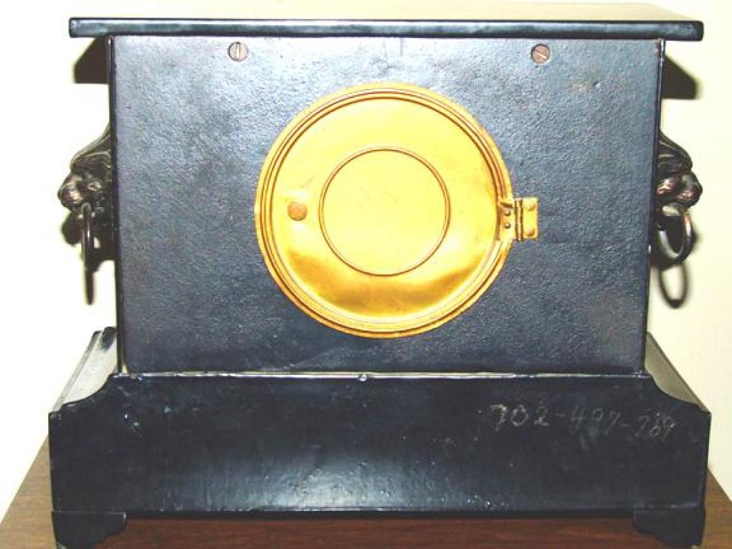 Metal back of the FIRST confirmed (2006) PREMIER model Pequegnat mantel clock
