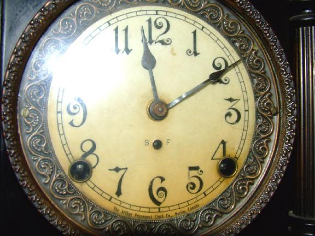 Dial of the FIRST confirmed (2006) PREMIER model Pequegnat mantel clock