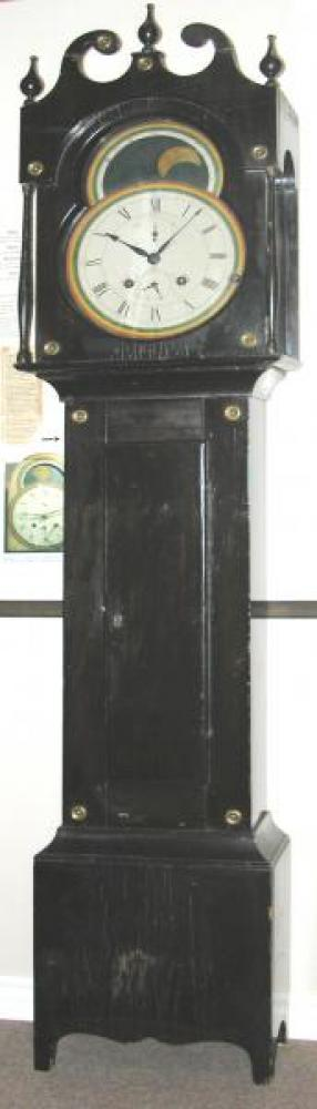 The museum's rare 1820s Quebec tallcase clock with its wood movement hand-made by Xavier Clement.