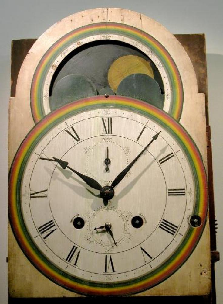 The hand-painted wood dial (the surface was restored for the museum by the Canadian Conservation Institute in Ottawa).