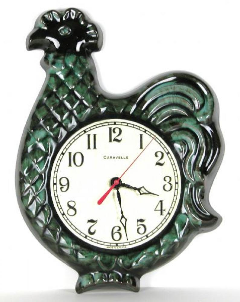 Green version of Caravelle chicken model battery wall clock.