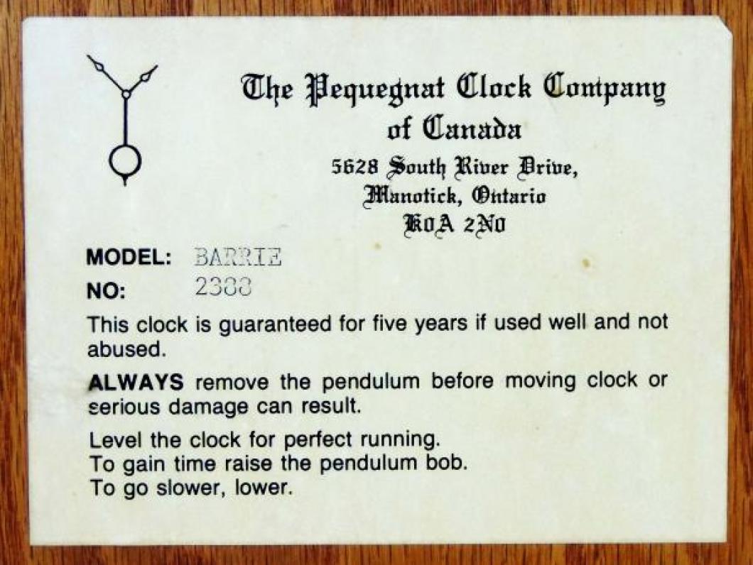 Label on Paul Pequegnat's BARRIE model mantel clock.
