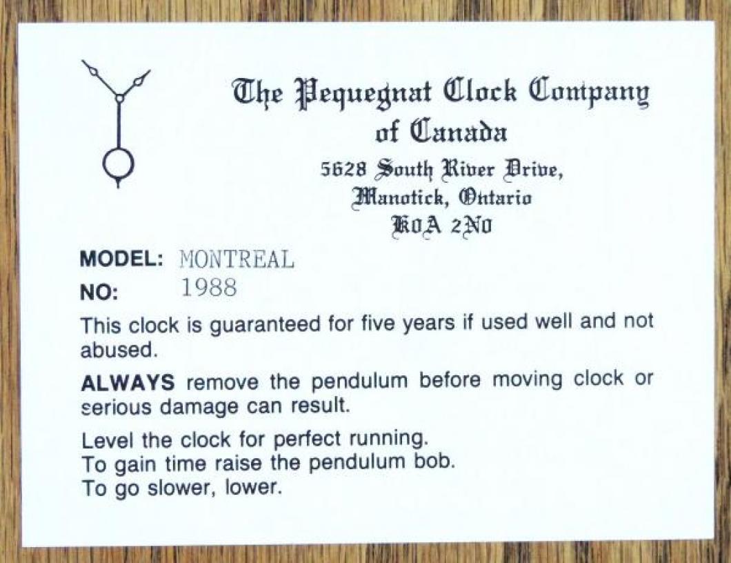 Label on Paul Pequegnat's MONTREAL model mantel clock.