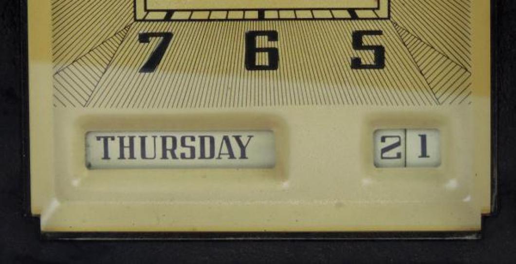 Calendar area of dial, GREGORY model mantel clock.
