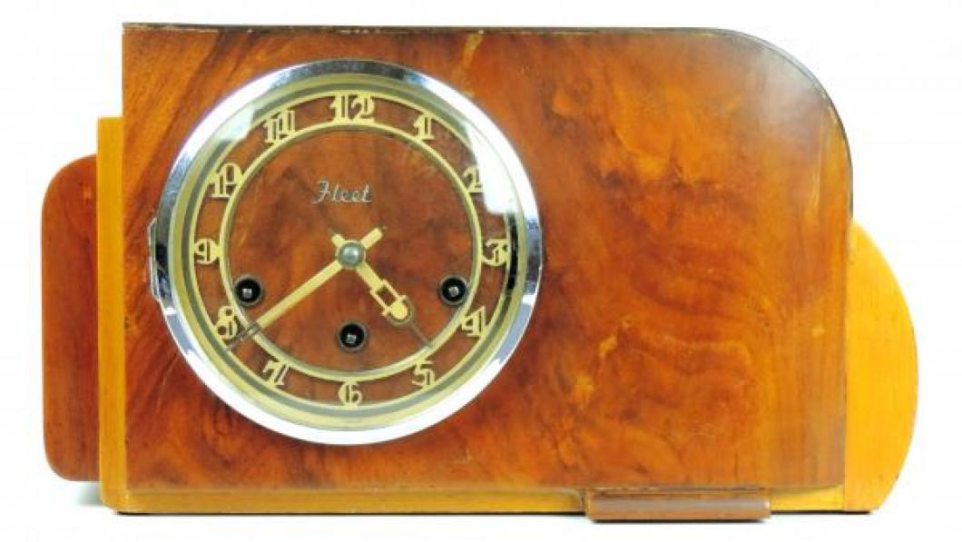 FLEET 3 tunes mantel clock FRONT (wood strip missing bottom left to centre)
