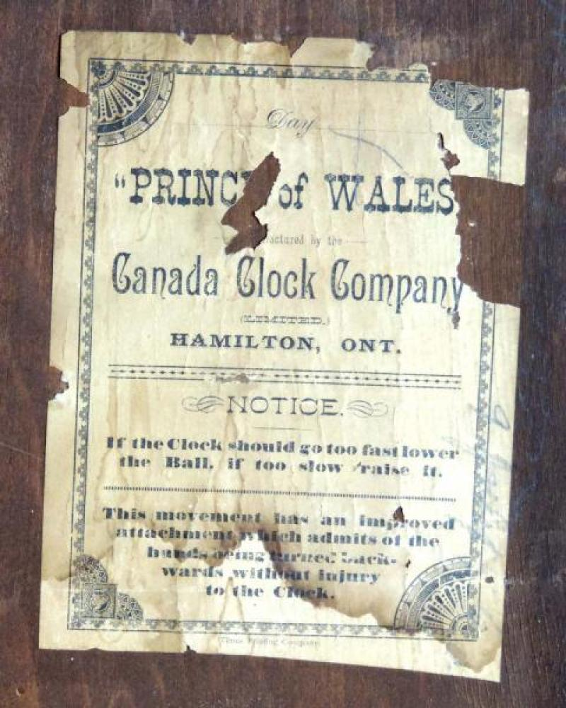 Canada Clock Company (Hamilton) PRINCE OF WALES model mantel clock PAPER LABEL