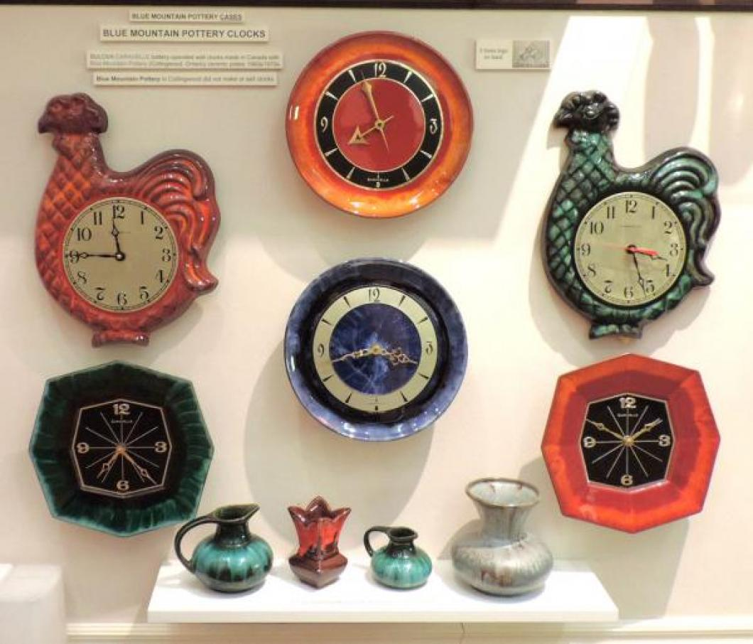 "Bulova Caravelle 1960s/70s battery wall clocks with ceramic cases made by Blue Mountain Pottery in Collingwood, Ontario (still looking for the ""fish"" model)."