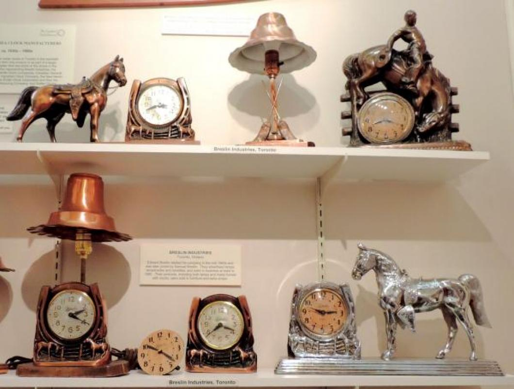 "1950s shelf clocks made by Breslin Industries in Toronto, when ""horse clocks"" were in fashion."