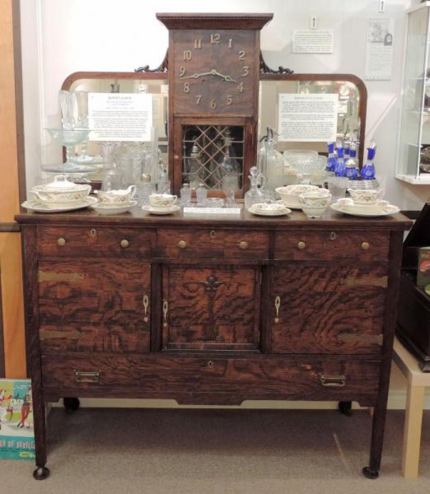 Rare Canadian-made, century-old oak buffet with Berlin, Ontario (pre 1916) Pequegnat mantel clock movement.