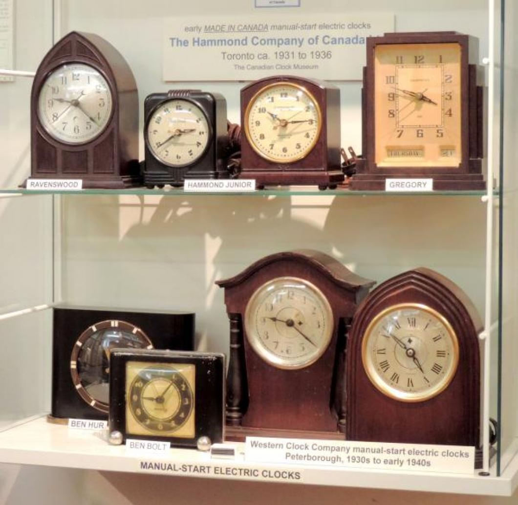Some manual-start electric shelf clocks made by Hammond Canada in Toronto ca. 1931 - 1936.