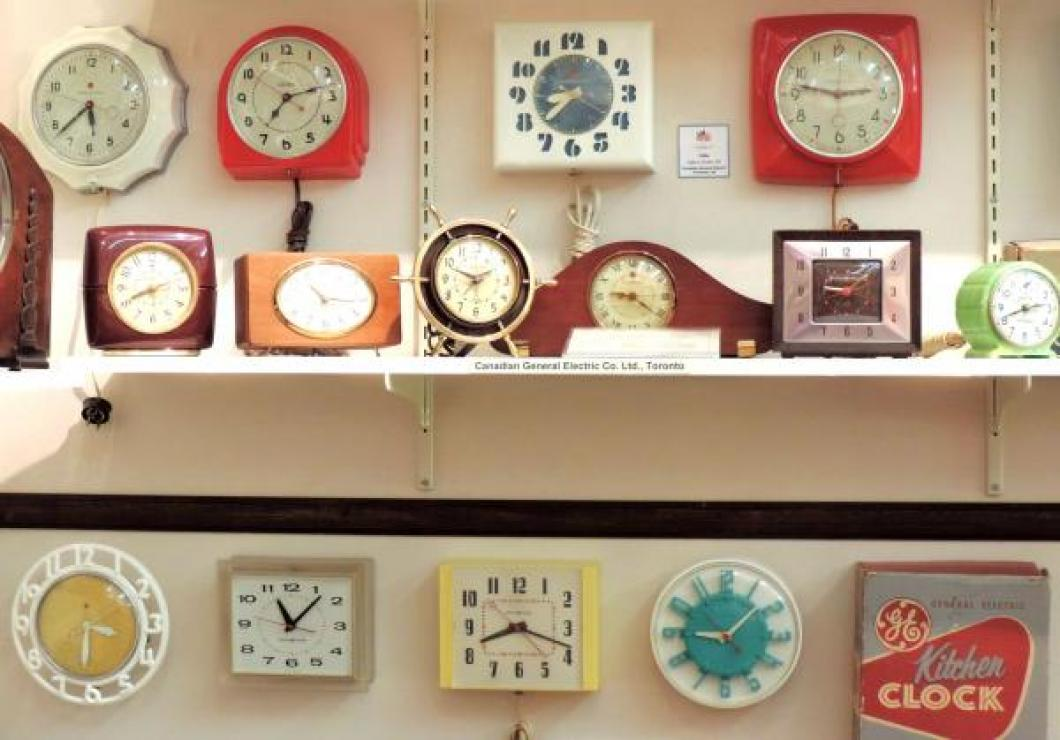 Some Canadian General Electric mid 20th century shelf and kitchen wall clocks made in Toronto.